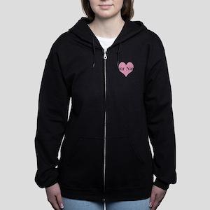 Pink heart and personalized name Women's Zip Hoodi