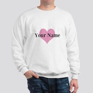 Pink heart and personalized name Sweatshirt