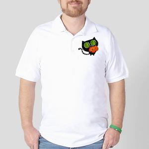 Cute Black Cat with pumpkin Golf Shirt