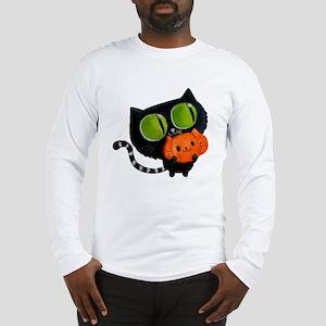 Cute Black Cat with pumpkin Long Sleeve T-Shirt