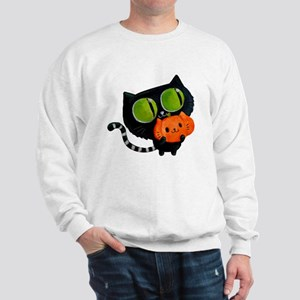 Cute Black Cat with pumpkin Sweatshirt