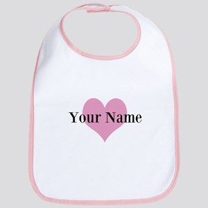 Pink Heart And Personalized Name Girls Baby Bib