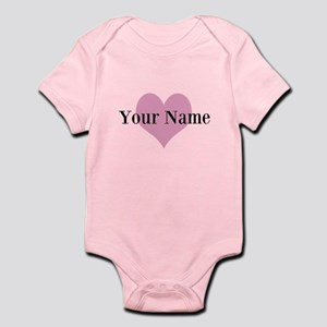 Pink Heart And Personalized Name Girls Body Suit