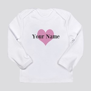 Pink heart and personalized name Long Sleeve T-Shi