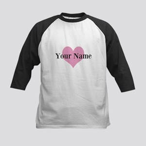 Pink heart and personalized name Baseball Jersey