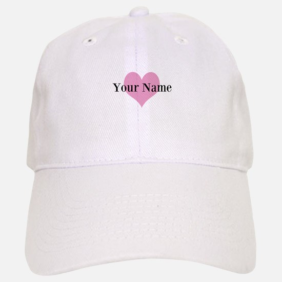 Pink heart and personalized name Baseball Baseball Baseball Cap
