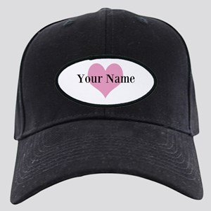 Pink heart and personalized name Baseball Hat
