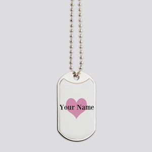 Pink heart and personalized name Dog Tags