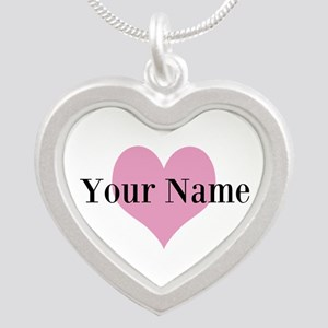 Pink Heart And Personalized Name Love Necklaces