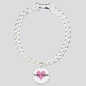 Pink Heart And Charm Bracelet, One Charm