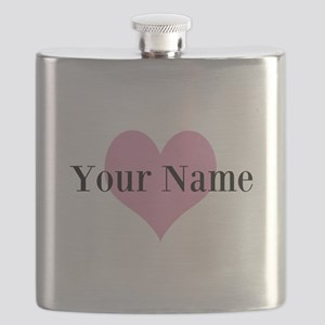 Pink heart and personalized name Flask