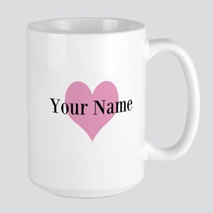 Pink Heart And Personalized Name Monogram Mugs