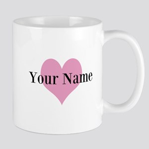Pink heart and personalized name Mugs