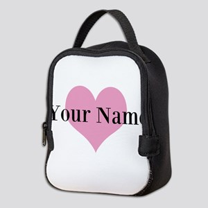 Pink heart and personalized name Neoprene Lunch Ba