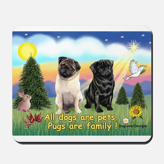 Pugs are Family (2) Mousepad