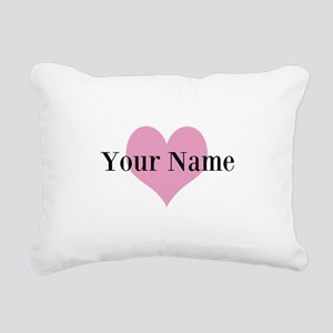 Pink heart and personalized name Rectangular Canva