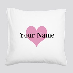 Pink Heart And Personalized Square Canvas Pillow