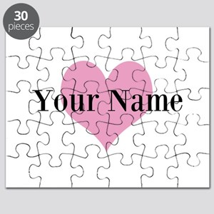 Pink heart and personalized name Puzzle