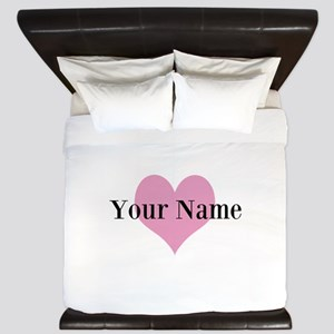 Pink heart and personalized name King Duvet