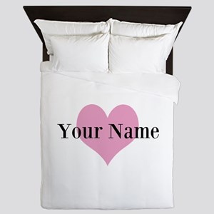 Pink heart and personalized name Queen Duvet