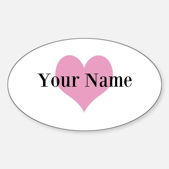 Pink heart and personalized name Decal