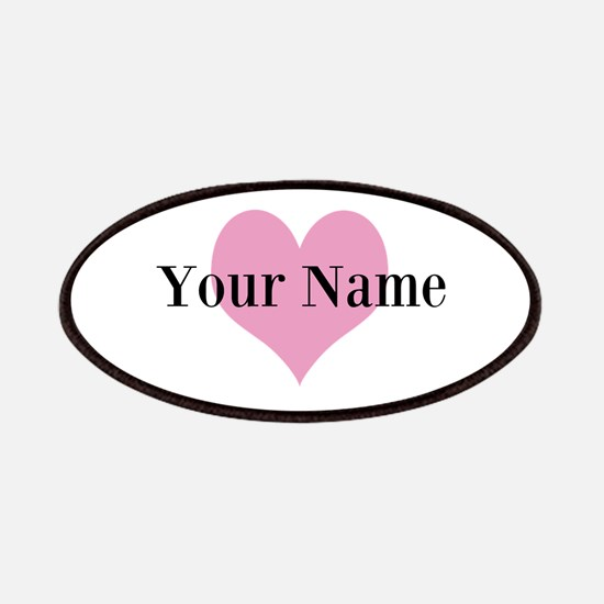 Pink heart and personalized name Patches