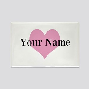 Pink heart and personalized name Magnets