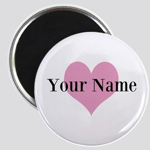 Pink Heart And Personalized Name Monogram Magnets