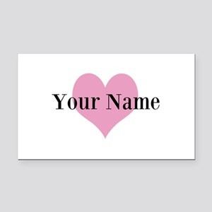 Pink heart and personalized name Rectangle Car Mag