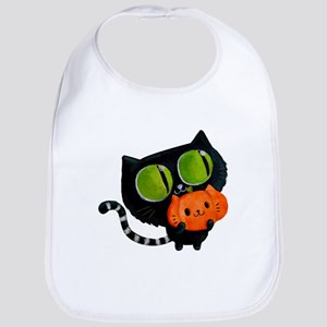 Cute Black Cat with pumpkin Bib