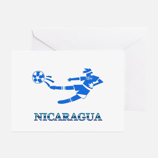 Nicaragua Soccer Player Greeting Cards (Package of