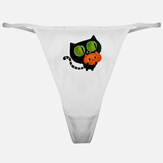 Cute Black Cat with pumpkin Classic Thong