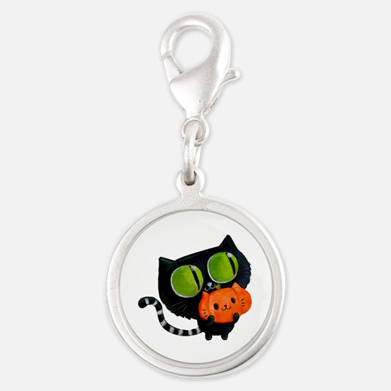 Cute Black Cat with pumpkin Charms