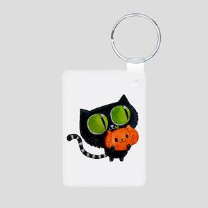 Cute Black Cat with pumpkin Keychains