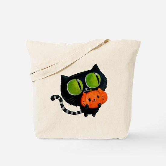 Cute Black Cat with pumpkin Tote Bag