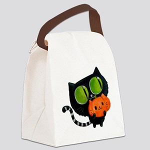 Cute Black Cat with pumpkin Canvas Lunch Bag