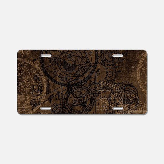 Clockwork Collage Brown Aluminum License Plate