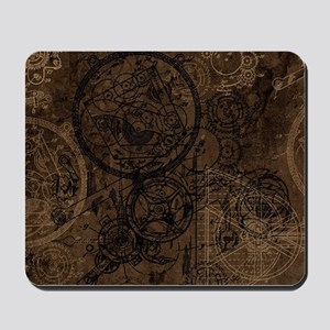 Clockwork Collage Brown Mousepad