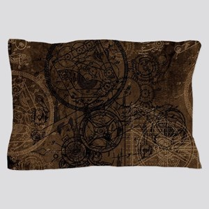 Clockwork Collage Brown Pillow Case