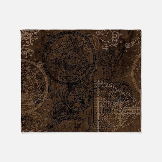 Clockwork Collage Brown Throw Blanket