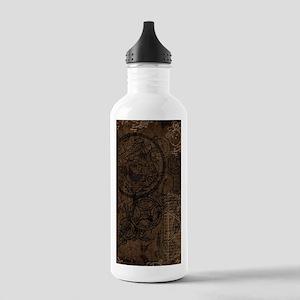 Clockwork Collage Brown Water Bottle