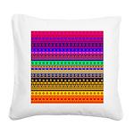 Rainbow Stripes Pattern Square Canvas Pillow