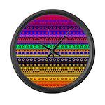 Rainbow Stripes Pattern Large Wall Clock