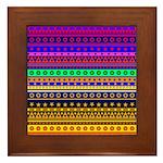 Rainbow Stripes Pattern Framed Tile