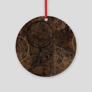 Clockwork Collage Brown Ornament (Round)