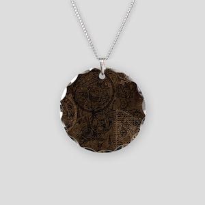 Clockwork Collage Brown Necklace