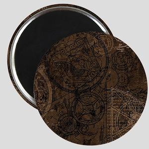Clockwork Collage Brown Magnets