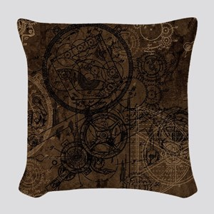 Clockwork Collage Brown Woven Throw Pillow