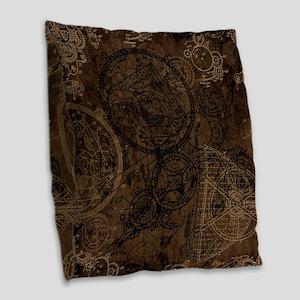 Clockwork Collage Brown Burlap Throw Pillow