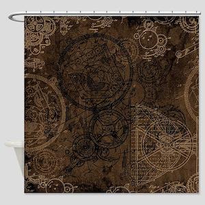 Clockwork Collage Brown Shower Curtain